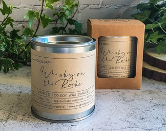 Whisky on the Rocks Scented Candle | Quality Paint Pot Container Candle | Eco Soy Wax Candle | Handmade in UK