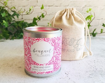 Bouquet of Flowers Scented Natural Soya Wax Candle - Paint Pot Container Candle
