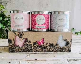 Natural Soya Wax Candle Set - Boxed Gift set - Candle Bundle - Rhubarb Ginger Gin/Bouquet of Flowers/Wild Bluebell - Personalised Gift Card