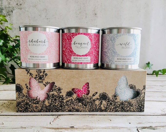 Featured listing image: Natural Soya Wax Candle Set - Boxed Gift set - Candle Bundle - Rhubarb Ginger Gin/Bouquet of Flowers/Wild Bluebell - Personalised Gift Card