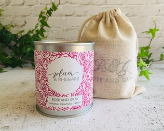 Plum & Rhubarb Scented Natural Soya Wax Candle - Paint Pot Container Candle