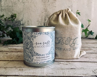 Sea Salt & Wood Sage Scented Natural Soya Wax Candle - Paint Pot Container Candle