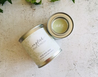 English Pear & Freesia Scented Natural Soya Wax Candle - Paint Pot Container Candle