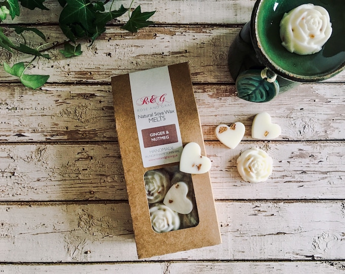 Featured listing image: Ginger & Nutmeg Scented Natural Soya Wax Melts - Boxed Melts - Autumn/Winter Scents