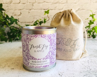 Fresh Fig & Apple Scented Natural Soya Wax Candle - Paint Pot Container Candle