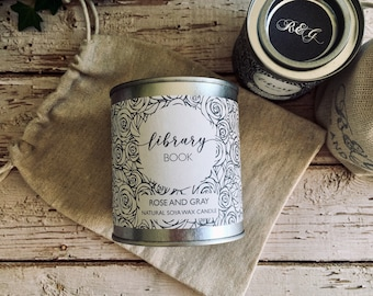 Library Book Scented Natural Soya Wax Candle - Paint Pot Container Candle