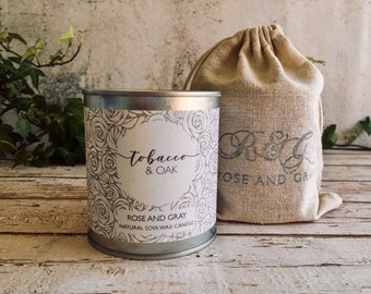 Tobacco & Oak Scented Natural Soya Wax Candle - Paint Pot Container Candle