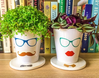 Hipster Printed Ceramic Plant Pot & Stand | Hipster Lady | Hipster Gentleman | Fun Plant Accessories | Handmade in UK