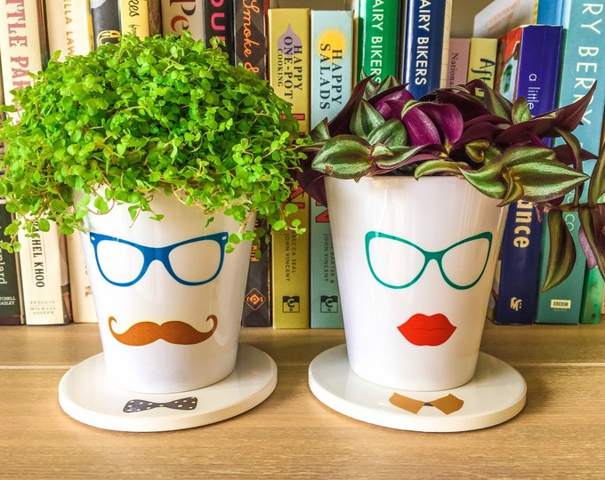 Featured listing image: Hipster Printed Ceramic Plant Pot & Stand - Hipster Lady - Hipster Gentleman - Plant Accessories