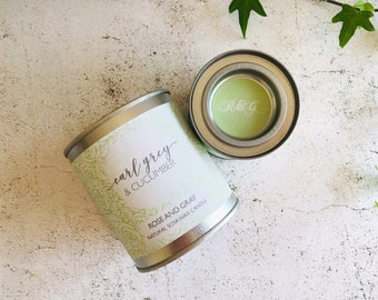 Earl Grey & Cucumber Scented Natural Soya Wax Candle - Paint Pot Container Candle