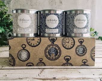 Natural Soya Wax Candle Set - Boxed Gift set - Candle Bundle - Tobacco & Oak/Whisky on the Rocks/Library Book - Personalised Gift Card