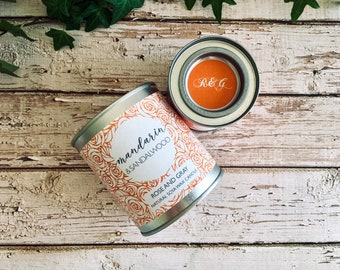 Mandarin & Sandalwood Scented Natural Soya Wax Candle - Paint Pot Container Candle