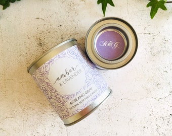 Amber & Lavender Scented Natural Soya Wax Candle - Paint Pot Container Candle