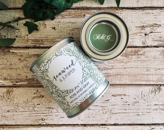 Seaweed & Juniper Scented Natural Soya Wax Candle - Paint Pot Container Candle