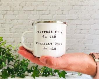 Pourrait être du thé, Pourrait être du gin Printed Enamel Mug Candle - Crackling Wood Wick - Container Candle - Camping Mug