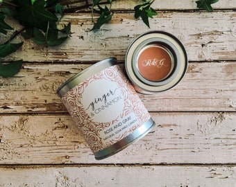 Ginger & Cinnamon Scented Natural Soya Wax Candle - Paint Pot Container Candle - Autumn/Winter Scents