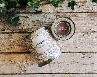 Ginger & Nutmeg Scented Natural Soya Wax Candle - Paint Pot Container Candle - Autumn/Winter Scents