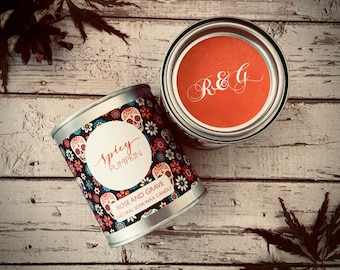 Spicy Pumpkin Scented Natural Soya Wax Candle - Paint Pot Container Candle - Halloween Special