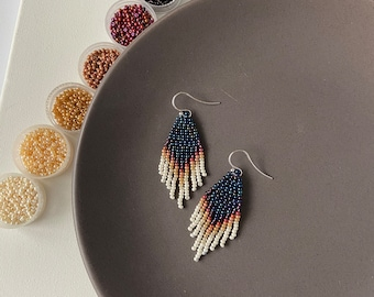 Navy blue ombre earrings - Beaded earrings - Fringe dangle earrings - Jewelry gift - Bohemian earrings