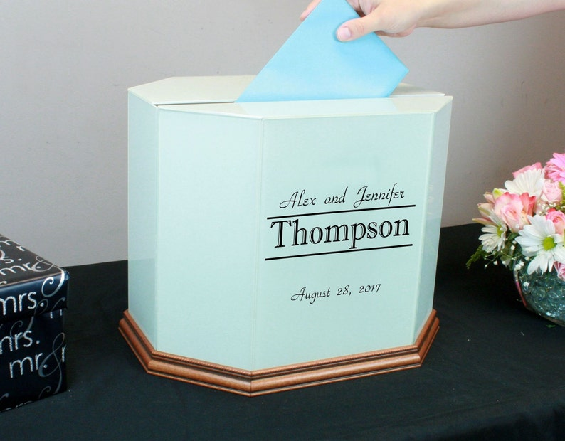 Personalized Wedding Card Box Wedding Money Box Glass Wedding Card Holder