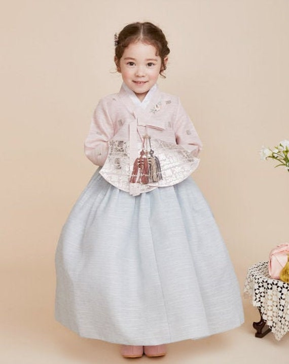+ sky blue skirt korea drees hanbok Children/'s party suits holiday dress- pitch top
