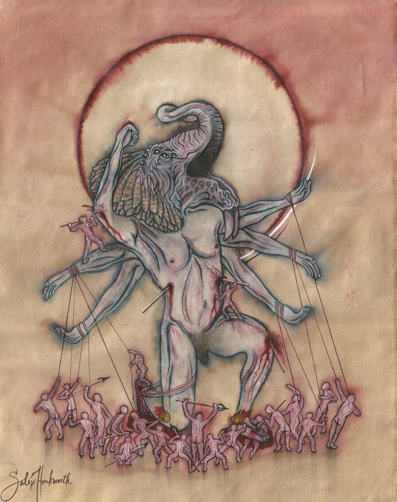 Slaughter Of Ganesha Surrealist Art Printoutsider Arthindu Etsy