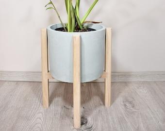 Oak Plant Stand,Bleached Oak, Mid Century Modern Plant Stand, Planter Holder