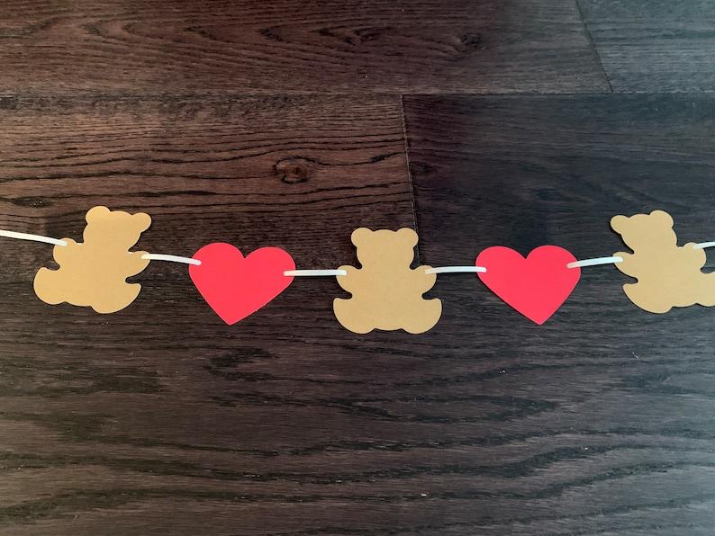 Handmade paper garland 3 bears and 2 hearts