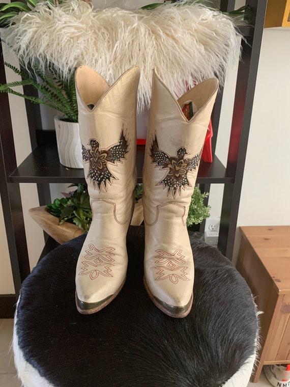 Vintage Zodiac Phoenix Feather Cowboy Boots