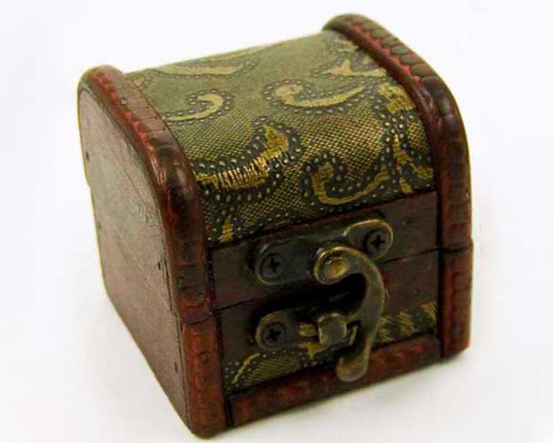 Ring Box Jewelry Box Gift Box Jewellery Box Small Wooden Embossed Floral Print Trinket Box Unique Present