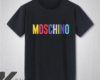 HOT Moschino Milano Colorful Logo T Shirt Moschino Shirt Moschino Tshirt  New Brand Casual Unisex Size T-Shirt S - 3XL KL2210 8d358902843