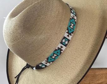 White Stitched Leather Hatband Hat Band /& Bracelet Keychain Woman Man Unisex Cowboy Cowgirl Rodeo Western