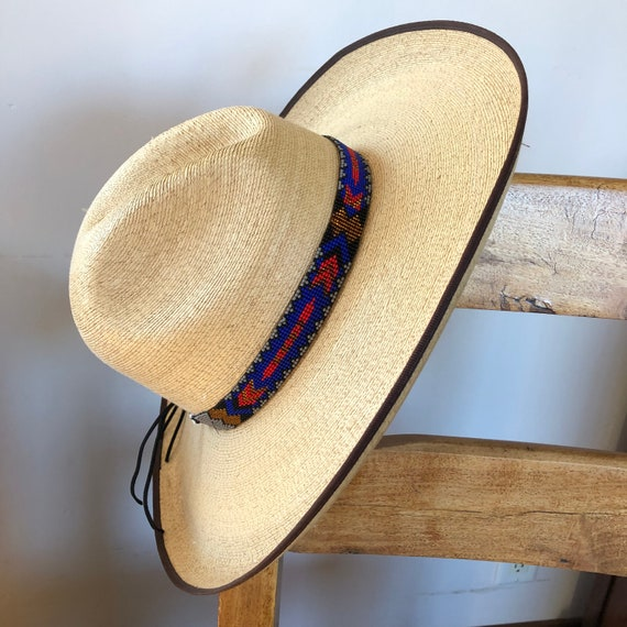 Rodeo Style Black Orange Red Handmade in Guatemala 7//8 X 21 and White Aztec Style Mayan Arts Cowboy Western Beaded Hat Band Leather Ties