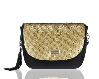 4e722b06a2ff Elegant Handbag Natural Leather And Velvet Handmade For Women Quilted  Lining Dark Gold Sequins