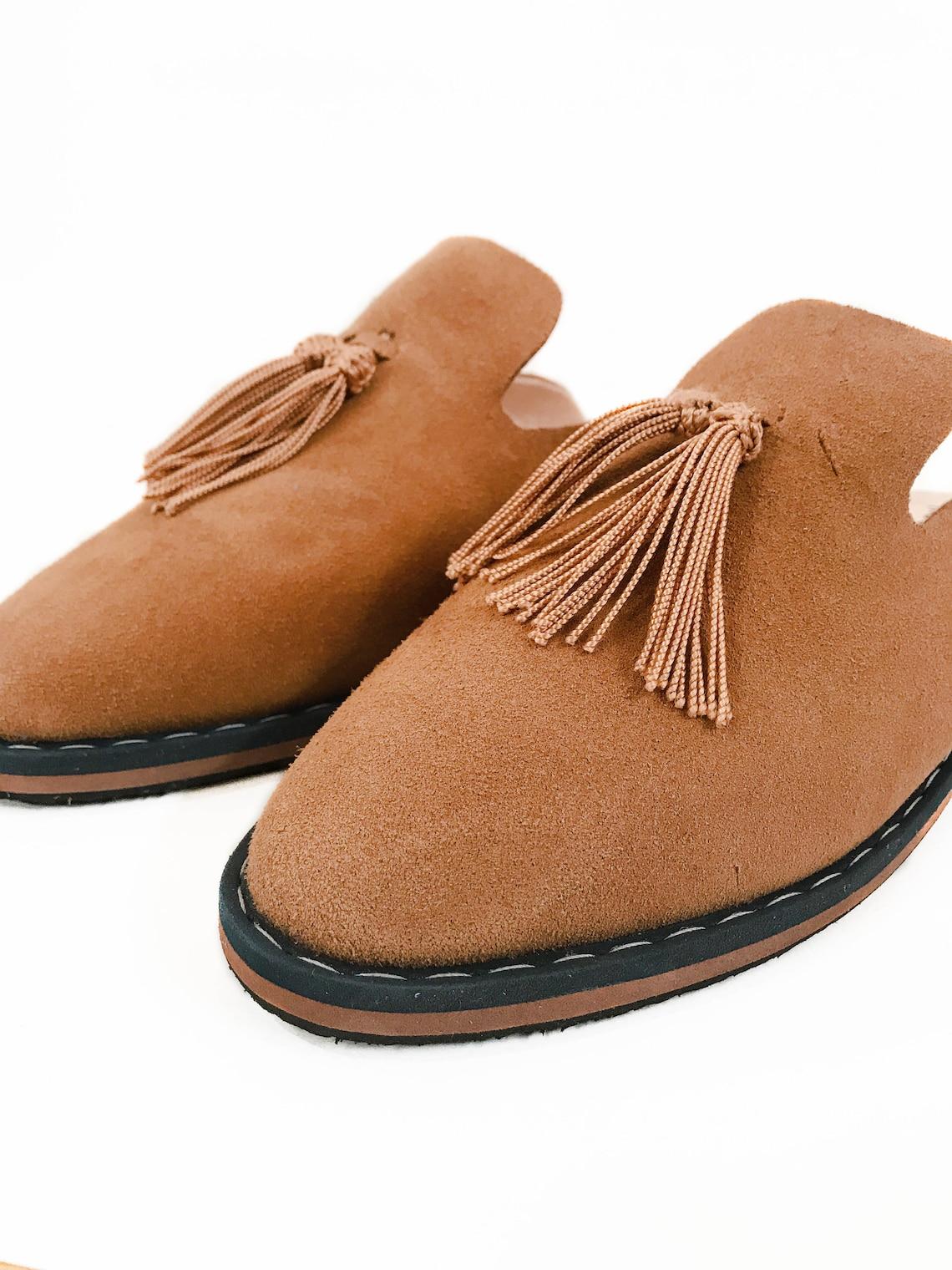 Kechart - Moroccan Modern leather Slippers For Women, Handmade Sabot, Sheepskin Slippers, Women Leather Slippers, Dan Sabot, Sabot for Woman