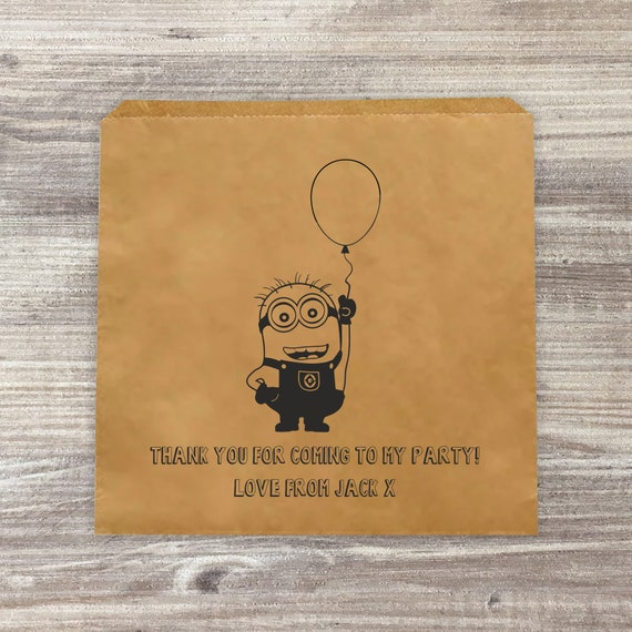 detailed pictures best value big discount Minion Personalised Paper Bags for Donut Walls, Sweet Bags, Party Favour  Bags