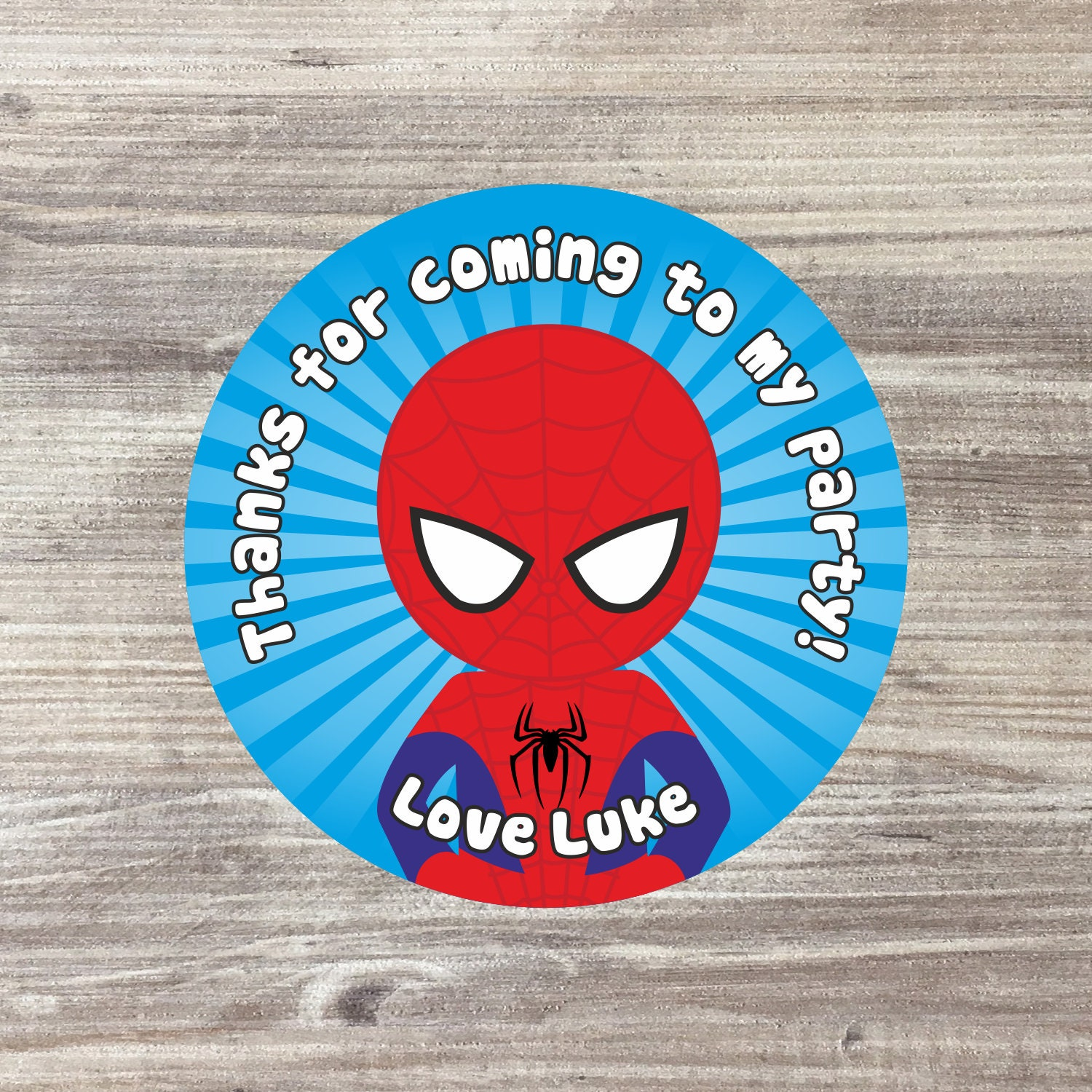 PERSONALISED GLOSSY SUPER HERO BIRTHDAY PARTY BAG SWEET CONE STICKERS ANY AGE