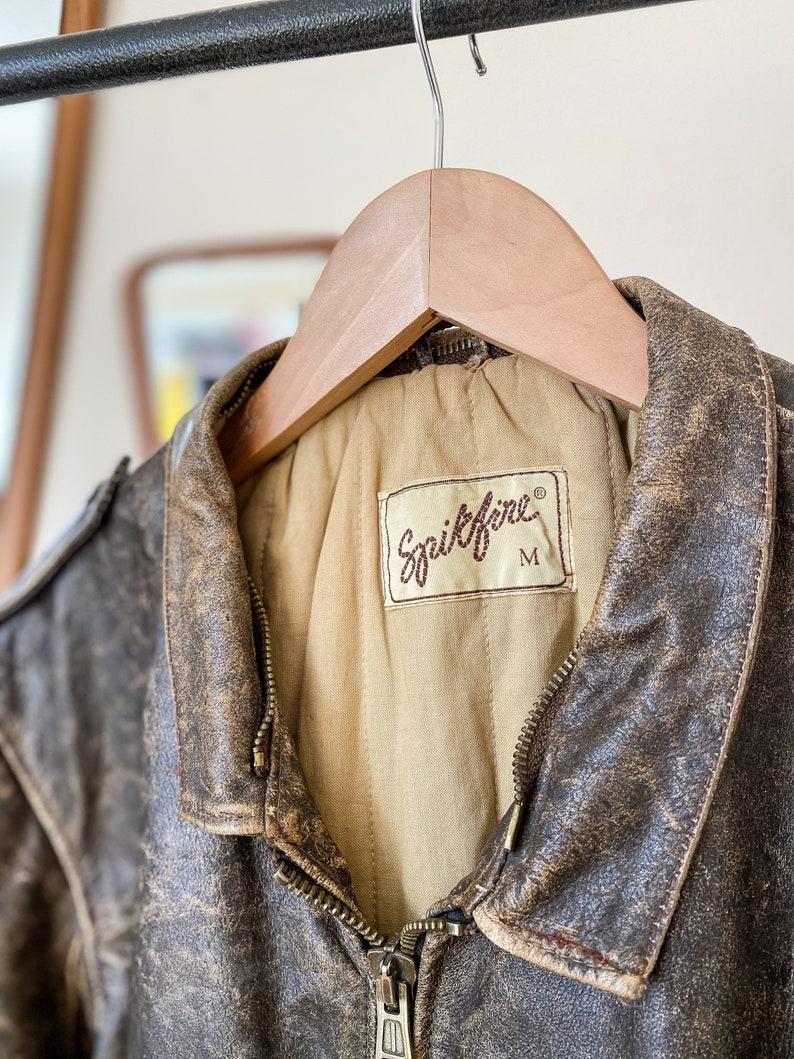 Vintage \u2018Spitfire\u2019 Leather Bomber Jacket Brown Mottled Leather Size Medium