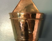 VTG Brass Wall Pocket Hanging Planter Boho Mid Century Retro Decor