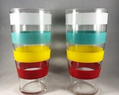 Vtg Tumblers Set 2 Anchor Hocking Color Bands Glasses Vintage Retro Pair Iced Tea Glasses XLNT Condition