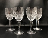 1980s Waterford Colleen Tall Stem Claret Wine Glasses, Crystal Set of 4 Wine Glasses, Vintage Irish Crystal, Made in Ireland, Glass