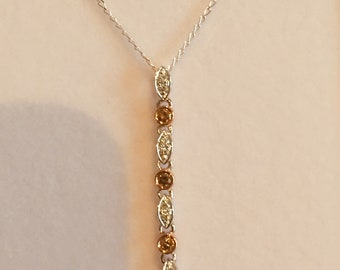 Argyle Diamond Drop Pendant '7 Lucky Drops' Champagne and White diamonds in White & Rose 9Ct Gold