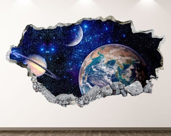 Outer Space Wall Decals HOLENGS Peel and Stick Removable Solar System Wall Stickers Spaceship Stars and Planet Wall Decor for Kids Boys Explorer Living Room Bedroom Nursery Home Wall Decoration