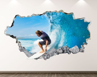 Surfboard Wall Decals surfing quote wall decal Surfer Girl Wall Decal watercolor surfing Decals Surfing Sports Decals waves Decals cik1869