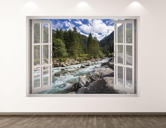 3d River Landscape Wall Printed Vinyle Sticker Autocollant Mural Bridge 03 Window