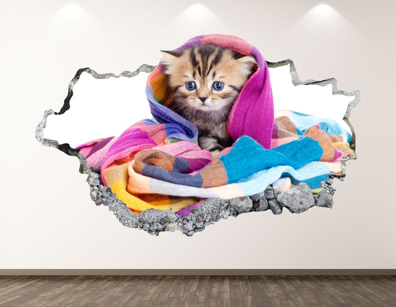 Small Cat Wall Decal Kitty 3D Smashed Wall Art Sticker Kids Room Decor Vinyl Home Poster Custom Gift KD65