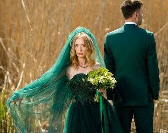 63d135b3c3d49 Emerald wedding dress,green wedding dress,color wedding dress,lace dress, green lace dress,custom dress,a line dress,tulle dress,unique dress