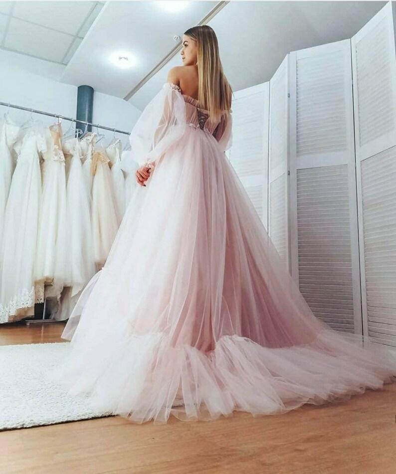 Minimalist corset wedding dress Wedding Dresses with Trains Long sleeves wedding dress Ivory wedding dress Puffy sleeves wedding dress