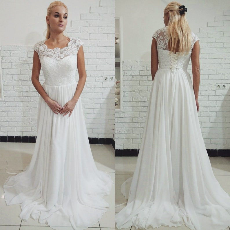 Simple Chiffon Maternity Wedding Dress Minimalistic Boho Wedding Dress Long Sleeveless Dress Maternity Backless Lace Wedding Dress