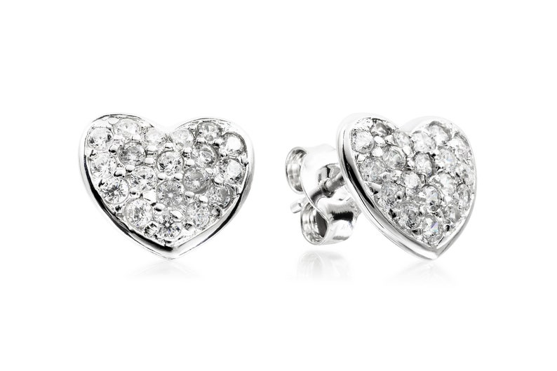 12mm x 10mm Solid 925 Sterling Silver Polished CZ Cubic Zirconia Heart Post Earrings